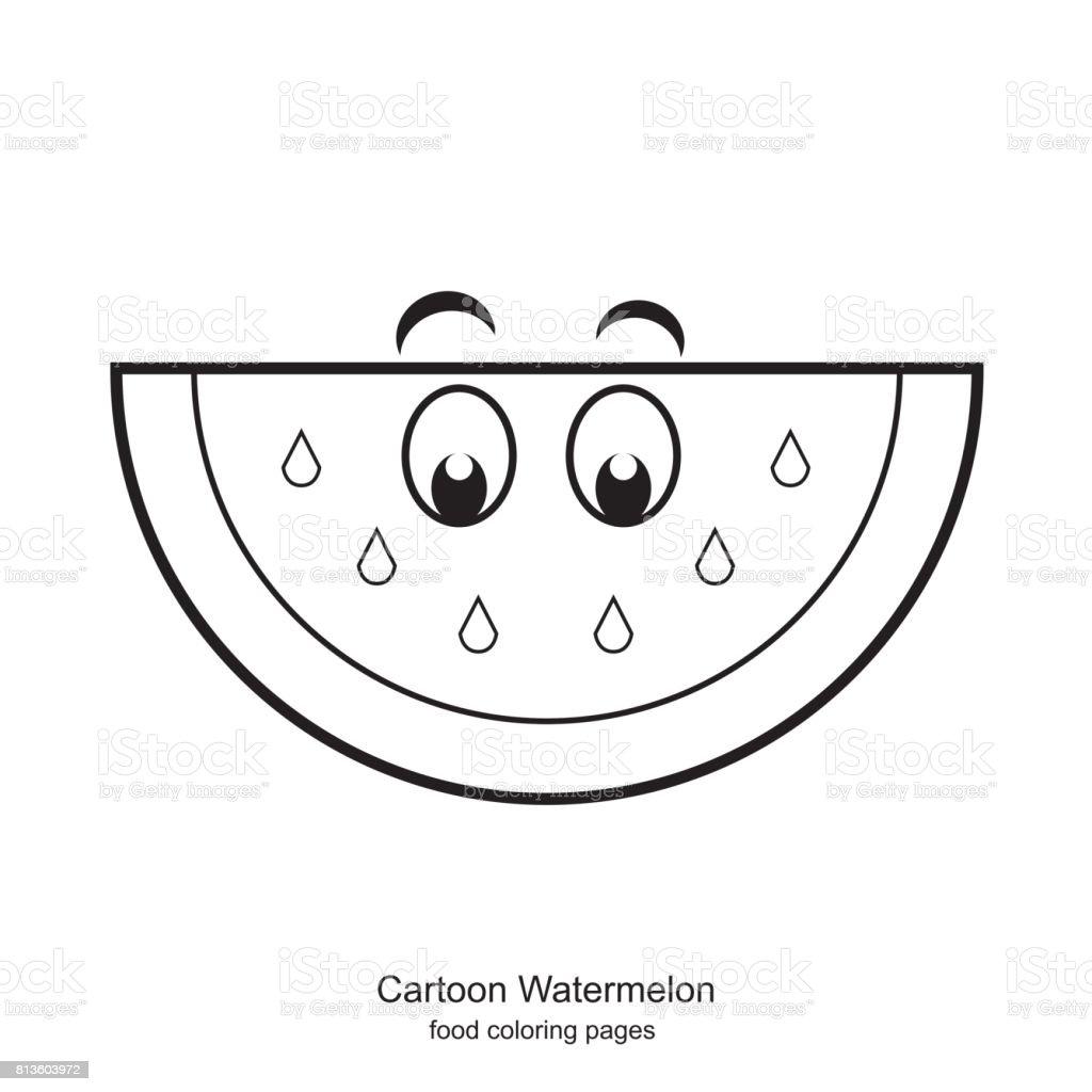 Vetores De Desenhos Animados Melancia Vector Paginas De Colorir E
