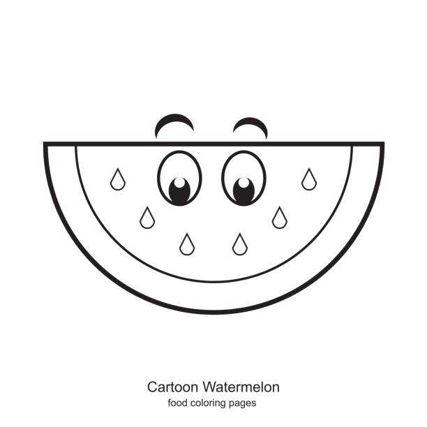 Royalty Free Watermelon Coloring Pages Clip Art, Vector Images ...