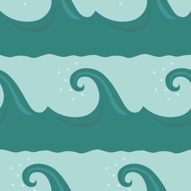 Dibujos animados ondas de patrones sin fisuras - ilustración de arte vectorial