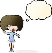cartoon waving girl with thought bubble