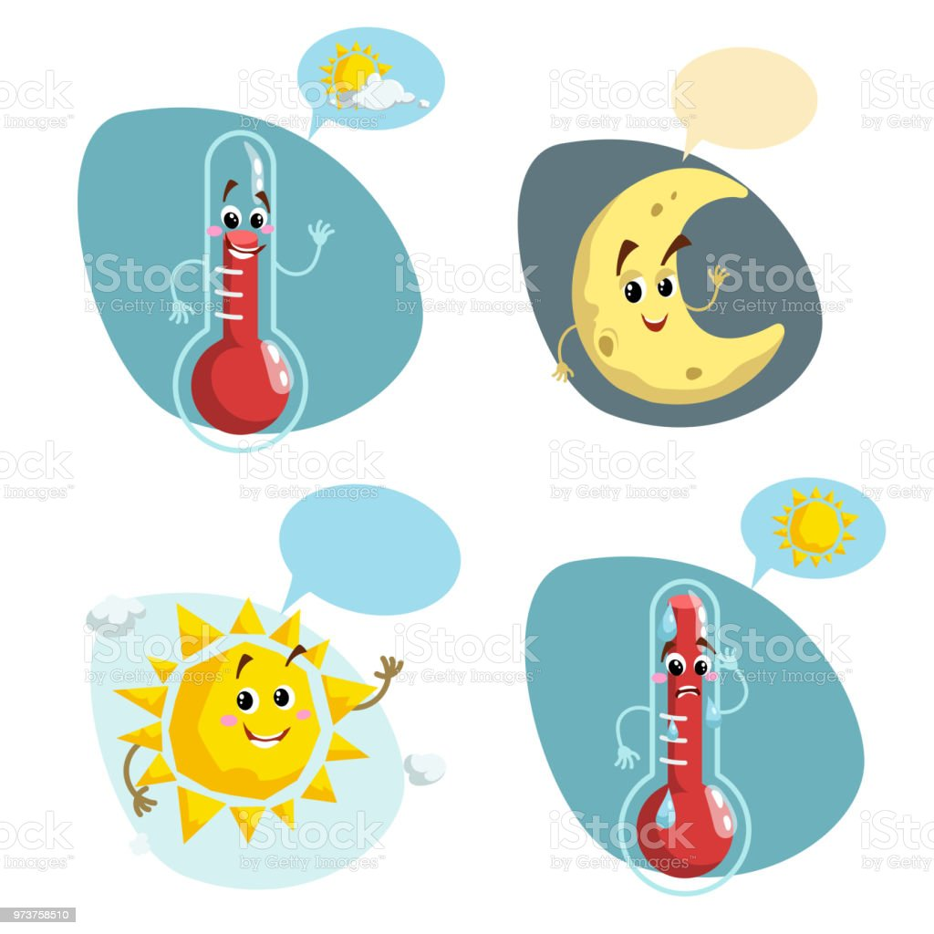 Cartoon Weather Characters Set Friendly Sun Smiling Thermometer