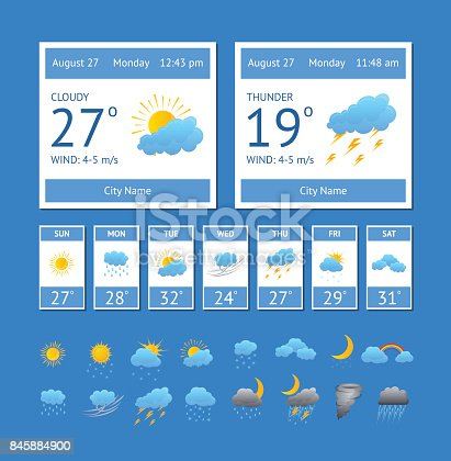 Cartoon Weather Color Element Set Interface Phone or Computer Meteorology Forecast Concept for Web Design Flat Style. Vector illustration