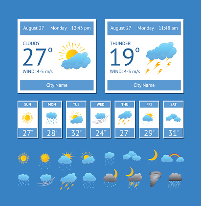 Cartoon Weather Color Element Set Vector Stock Illustration - Download Image Now