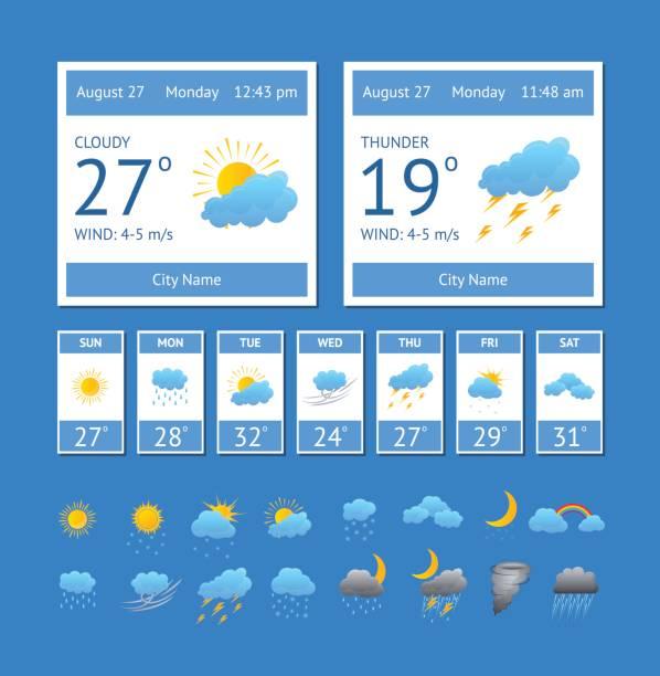 Cartoon Weather Color Element Set. Vector Cartoon Weather Color Element Set Interface Phone or Computer Meteorology Forecast Concept for Web Design Flat Style. Vector illustration forecasting stock illustrations