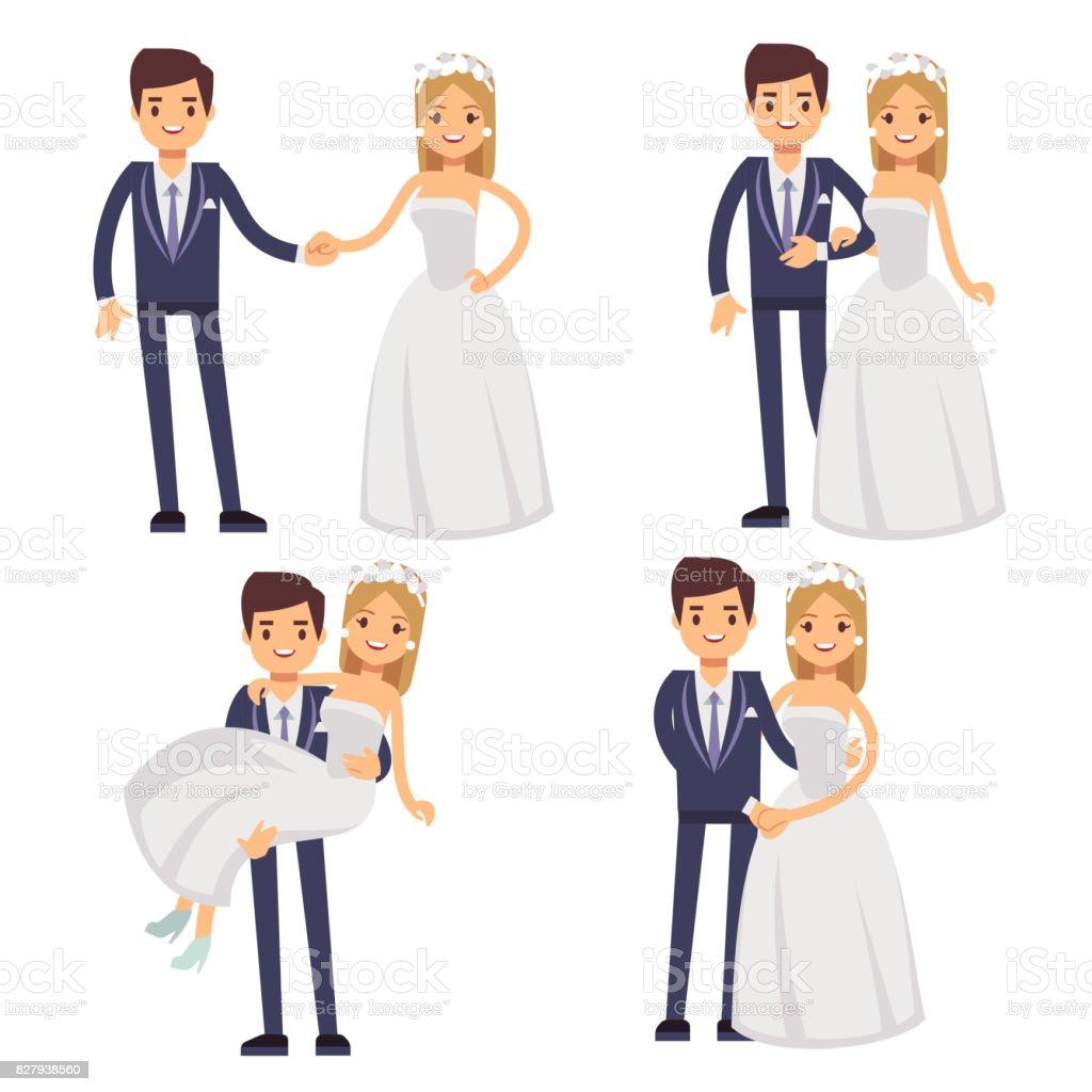 Cartoon Wedding Couple Just Married Vector Characters