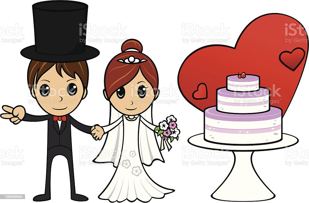 Cartoon Wedding Couple with cake royalty-free cartoon wedding couple with cake stock vector art & more images of adult