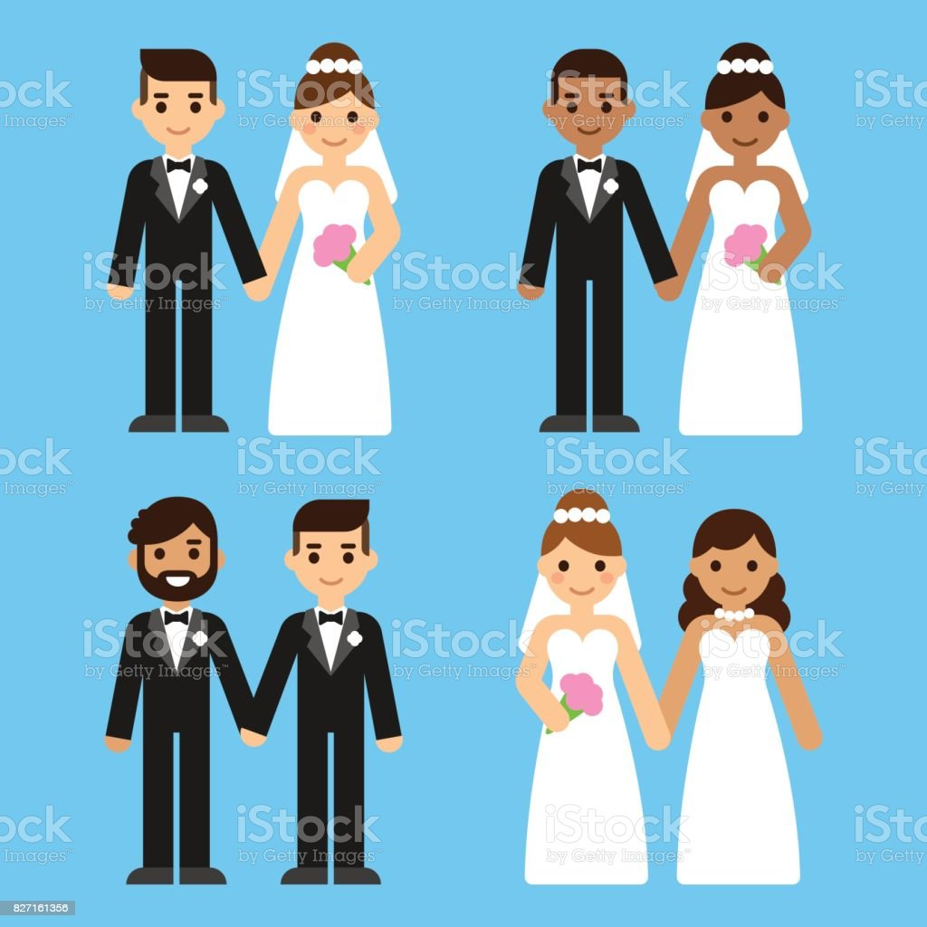 Cartoon wedding couples set vector art illustration