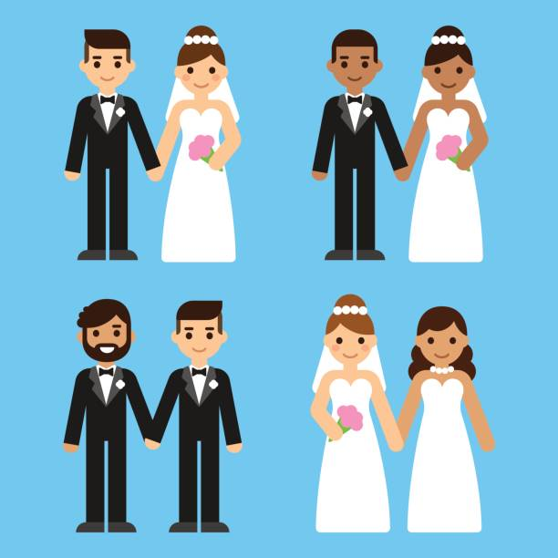 Cartoon wedding couples set Cute cartoon diverse wedding couples set. Caucasian and black, mixed race and gay brides and grooms. Equal marriage concept vector illustration. bridegroom stock illustrations