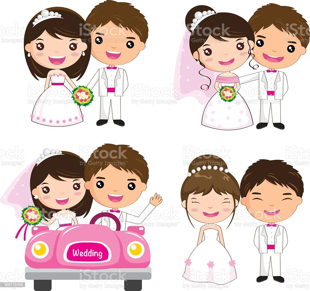 Cartoon Wedding Set Stock Vector Art & More Images Of
