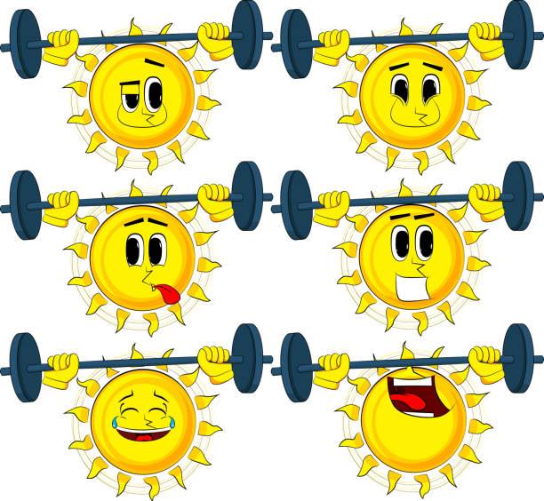 bildbanksillustrationer, clip art samt tecknat material och ikoner med cartoon tyngdlyftare solen lyfta skivstång. - gym skratt