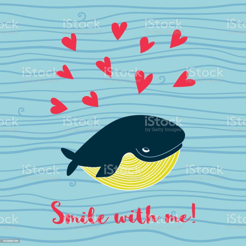 Cartoon Whale vector card vector art illustration