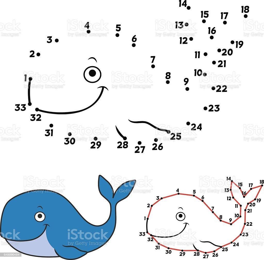 Cartoon whale vector art illustration