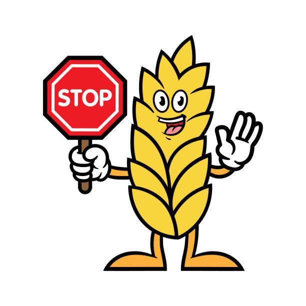 小麦の漫画のキャラクターに一時停止の標識を保持 - 食物アレルギー点のイラスト素材/クリップアート素材/マンガ素材/アイコン素材