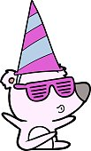 cartoon whistling bear wearing party hat