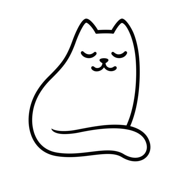 8 949 Black And White Cat Illustrations Clip Art Istock
