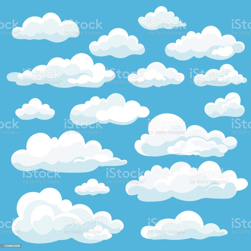 Vetores de Ícone De Nuvens Brancas De Desenho Animado Se Isolou Em Fundo  Azul Nuvens Capeem Em Estilo Plano Símbolo Do Tempo Da Nuvem Do Céu Azul  Ilustração Vetorial Panorama Nublado e