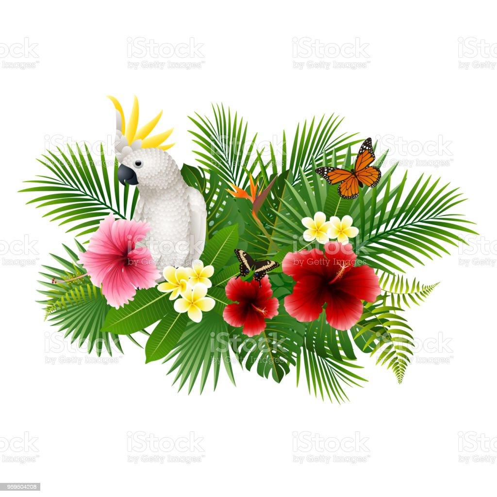 Ilustración de Dibujos Animados De Loro Blanco Y Mariposa Con Flores ...