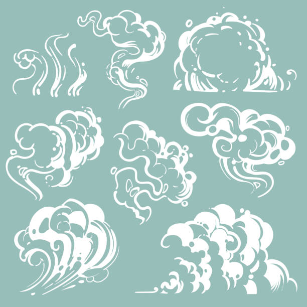 cartoon white smoke and dust clouds. comic vector steam isolated - dym stock illustrations