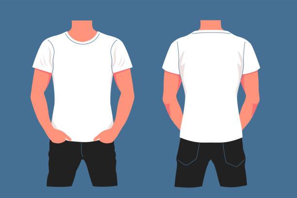 Cartoon white t shirt mockup on male body vector graphic illustration