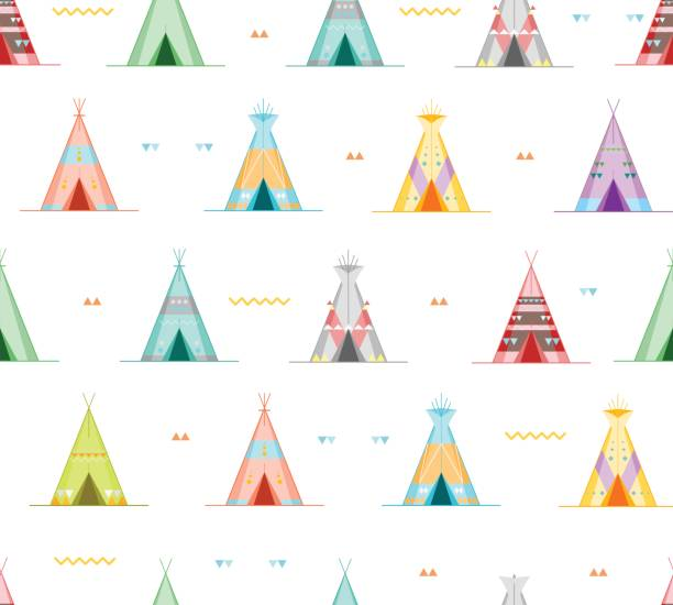 Cartoon Wigwams or Tepees Background Pattern. Vector Cartoon Wigwams or Tepees Background Pattern on a White Traditional Tribal House Flat Design Style for Web and App. Vector illustration teepee stock illustrations