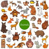 cartoon wild animal characters big set