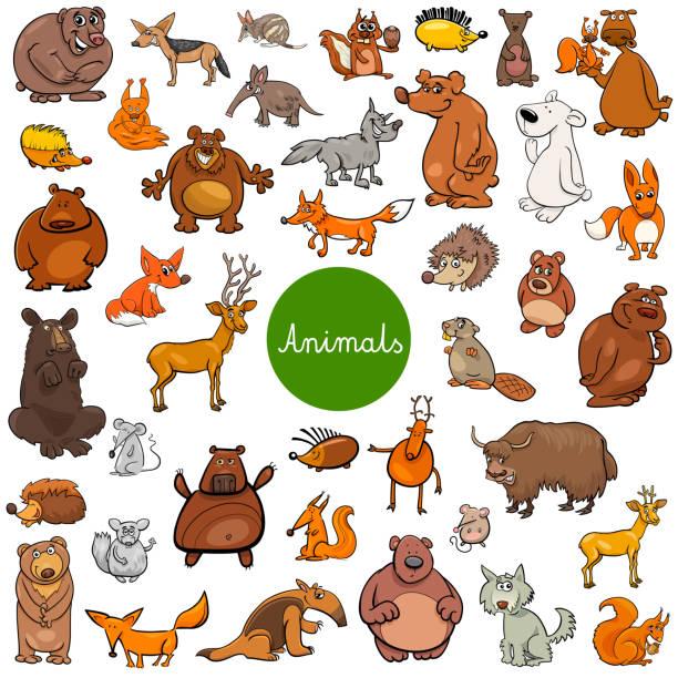 wildes tier cartoon zeichen großen satz - ameisenbär stock-grafiken, -clipart, -cartoons und -symbole
