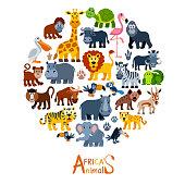 Cartoon wild animal characters collage