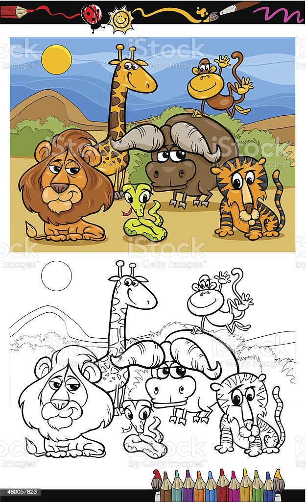 Cartoon Wild Animals Coloring Page Stock Illustration - Download Image Now  - IStock