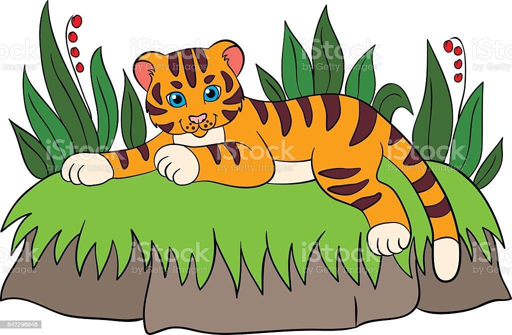 Ilustración de Dibujos Animados Animales Salvajes Para Niños Tigre ...