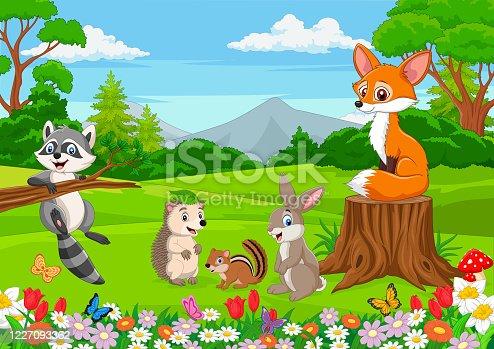istock Cartoon wild animals in the jungle 1227093362