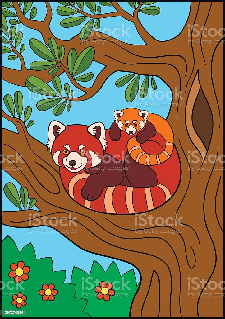 Cartoon wild animals. Mother red panda with her cute baby. royalty-free cartoon wild animals mother red panda with her cute baby stock vector art & more images of animal