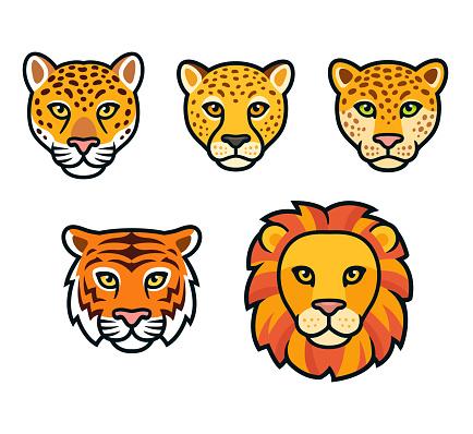Cartoon wild cats head set