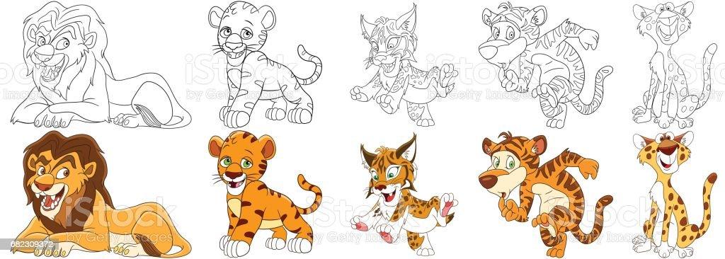 cartoon wild cats set vector art illustration