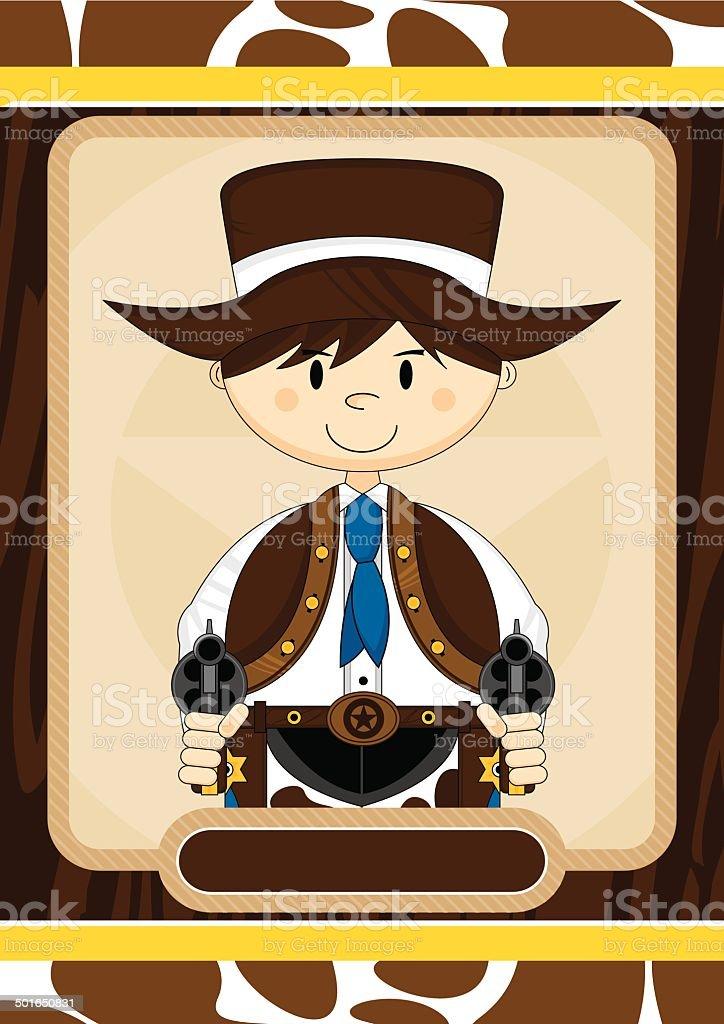 Cartoon Wild West Cowboy Sheriff vector art illustration