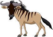 Cartoon wildebeest mascot isolated on white background