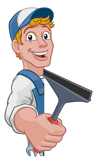 Cartoon Window Cleaning Squeegee Car Wash Cleaner
