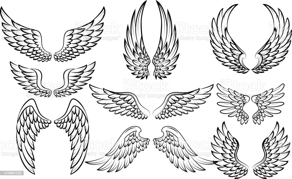 Cartoon wings collection set vector art illustration
