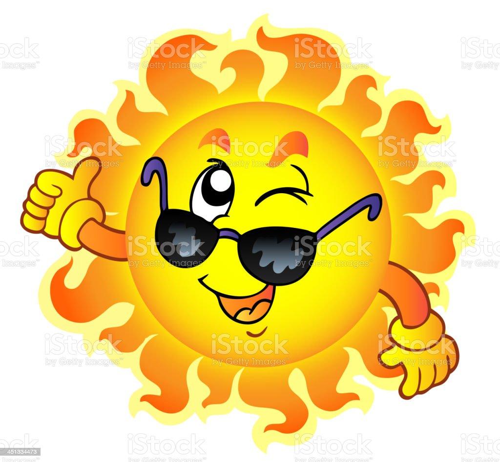 aef10d329fe5 Мультяшный Подмигивать солнце с Солнцезащитные очки Мультяшный Подмигивать  солнце с Солнцезащитные очки — стоковая векторная графика