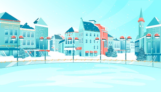 Cartoon Winter Empty Urban Ice Rink on City Square