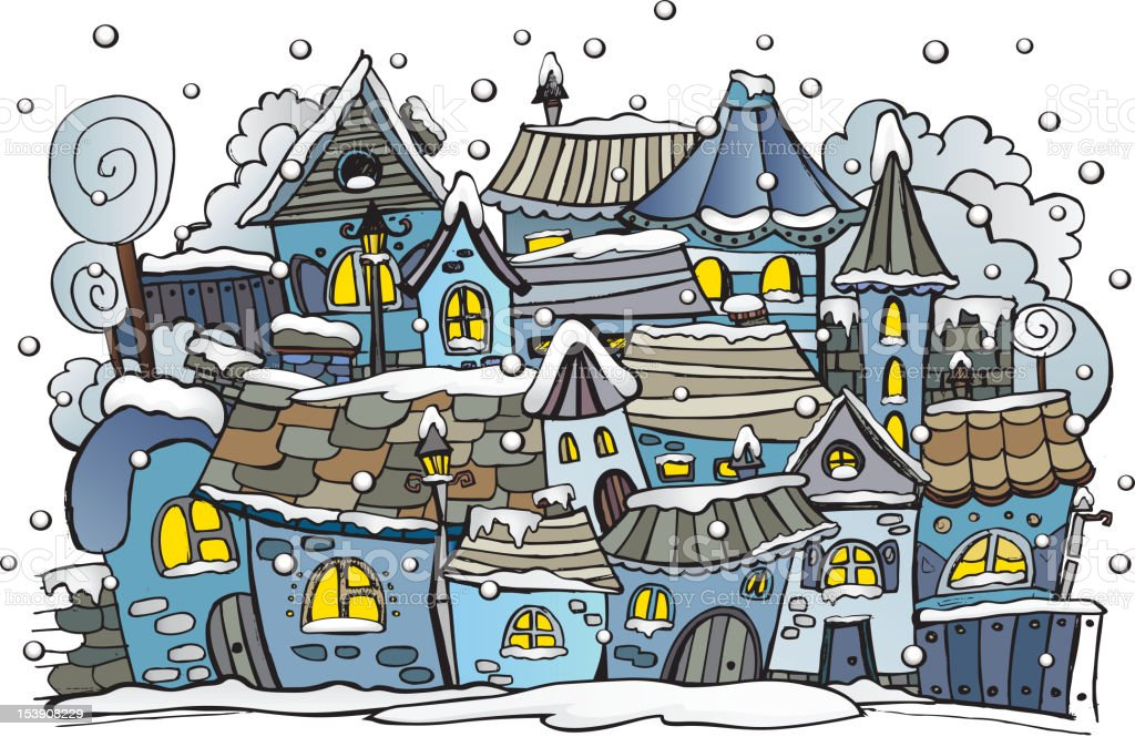 cartoon winter fairytale town royalty-free stock vector art