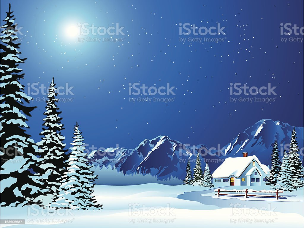 Cartoon Winter Landscape of Cottage Covered in Snow vector art illustration
