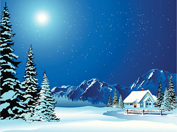 cartoon winter landscape of cottage covered in snow - blue clipart stock illustrations