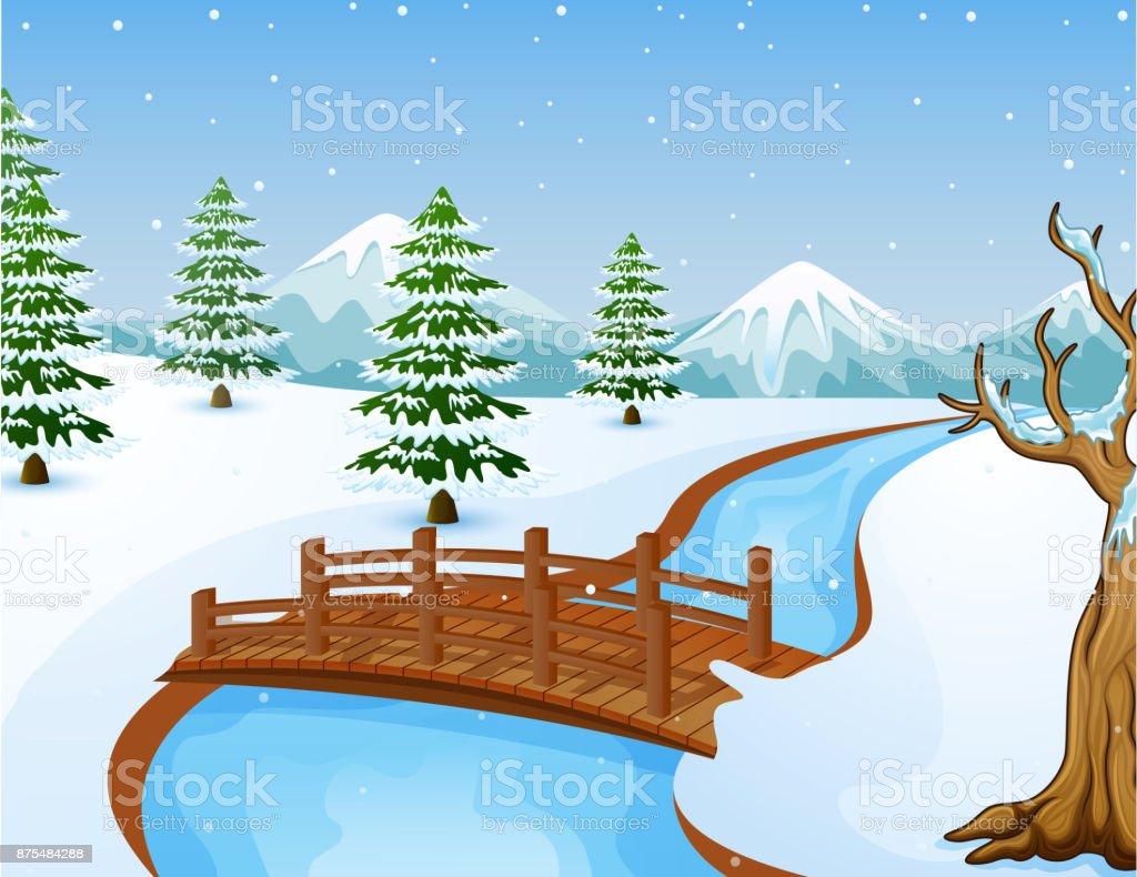 Comment Fabriquer Un Petit Pont En Bois dessin animé paysage dhiver avec les montagnes et le petit