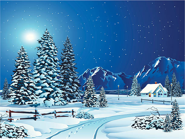 Cartoon Winter Landscape with Trees and Cottage in Distance Other Winter and Christmas: cottage stock illustrations