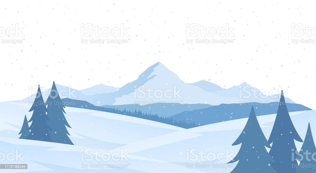 Cartoon Winter Snowy Mountains Flat Landscape With Pines And Hills Stock Illustration Download Image Now Istock