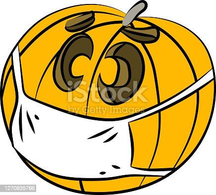 istock Cartoon winter squash wearing a protective mask against Corona Virus vector illustration 1270635766