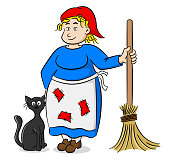 cartoon witch with a black cat and a broom
