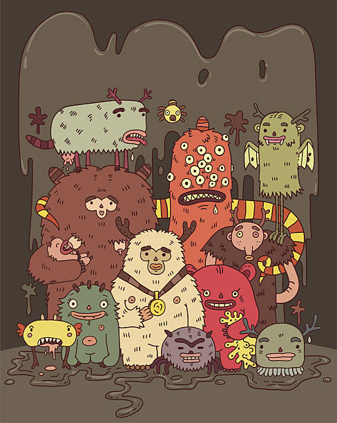 Cartoon with animated monsters vector art illustration