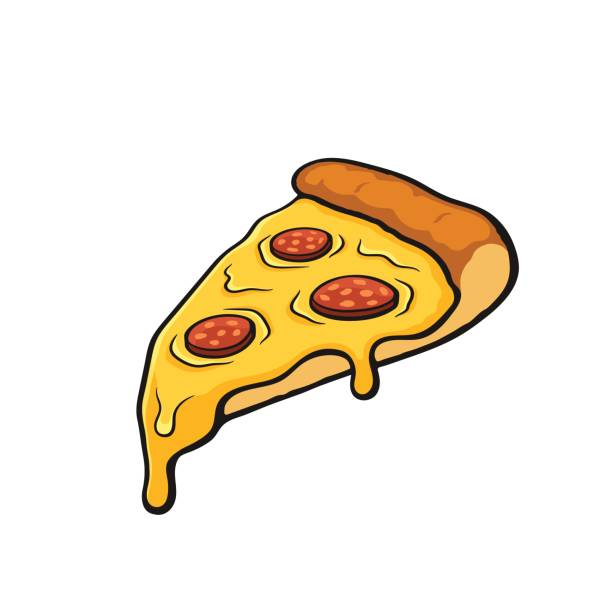 Cartoon with contour of pizza slice with melted cheese and pepperoni vector art illustration