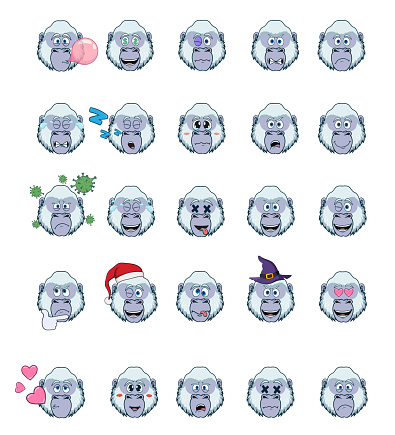 cartoon with yeti or bigfoot with different emotions. large set of isolated emoji on a white background. vector stock illustrations